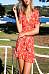V Neck  Ruffle Trim  Print  Short Sleeve Skater Dresses