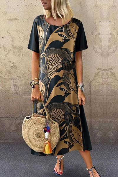 Vintage Printed Short Sleeve Round Neck Dress