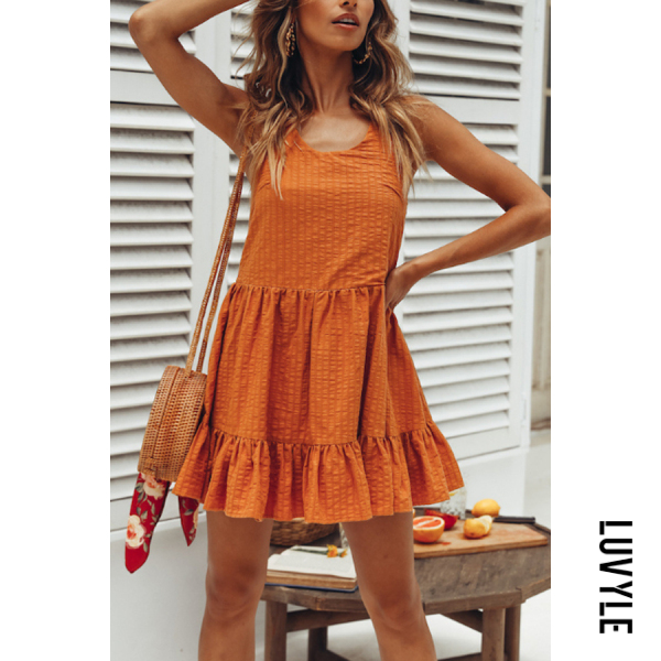 Orange Spaghetti Strap Plain Sleeveless Skater Dresses Orange Spaghetti Strap Plain Sleeveless Skater Dresses