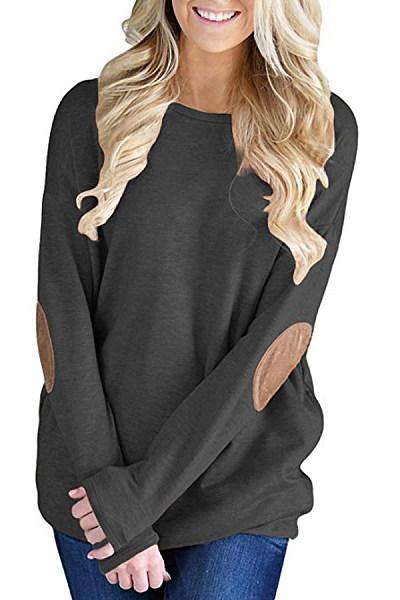 Round Neck  Patchwork Plain  Batwing Sleeve T-Shirts