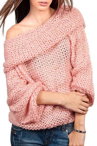 Lapel  Loose Fitting  Plain Sweaters