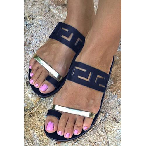 Color Block  Flat  Peep Toe  Casual Sandals