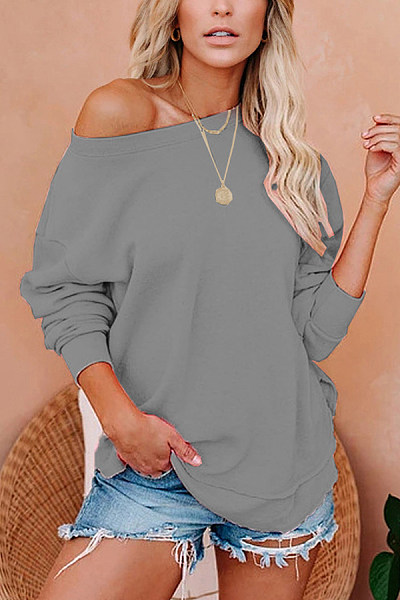 Open Shoulder Collar Loose Sweatshirt