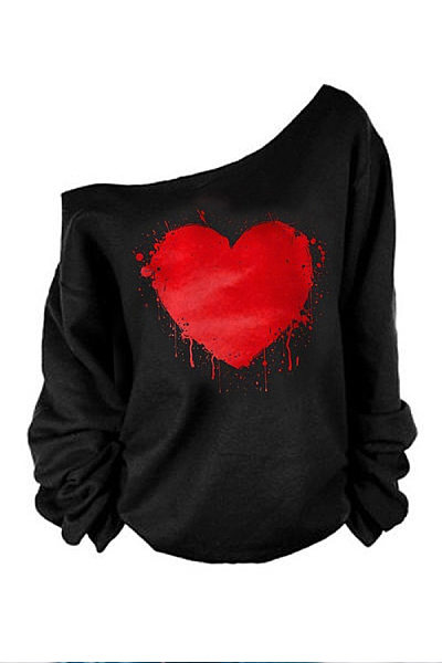 One Shoulder Round Neck Heart Printed T-Shirts
