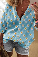 Daisy Printed Long Sleeve Blouse