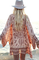 Batwing Sleeve Snap Front Printed Kimono