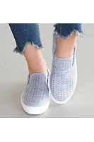 Patchwork Hollow Out Round Toe Flats