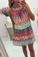 Halter Back Hole Zigzag Striped Casual Dresses