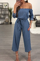 Off Shoulder  Backless  Plain  Half Sleeve Denim Overalls