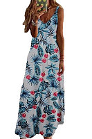V-Neck Decorative Buttons Floral Printed Maxi Dress