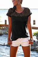 Round Neck  Lace Plain T-Shirts