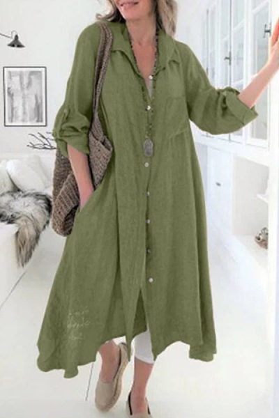 Turn Down Collar  Single Breasted  Plain  Long Sleeve Maxi Dresses