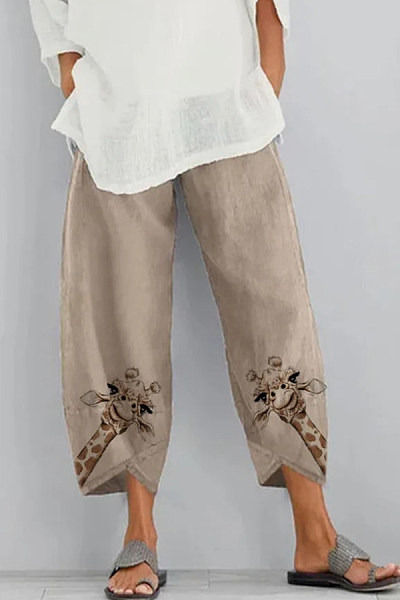 Butterfly Printed Cotton Cropped Casual Pants