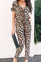 V Neck  Leopard Printed  Short Sleeve Jumpsuits