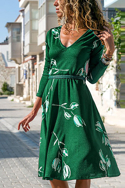 Casual V-Neck Printed Long Sleeve Dress