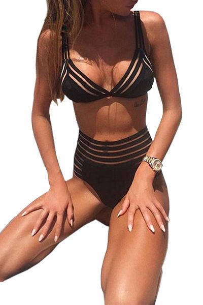 V Neck Cutout Striped Bikini