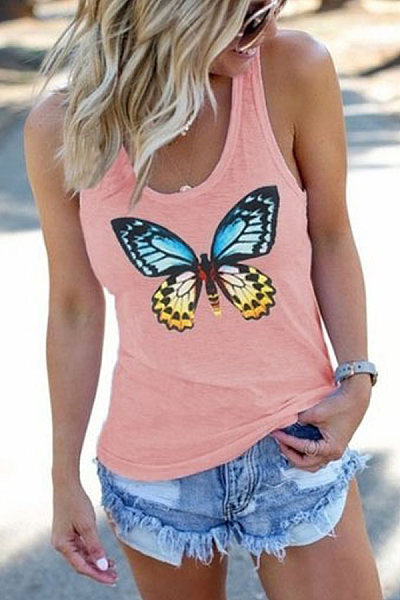 Casual Sleeveless Butterfly Print Vest