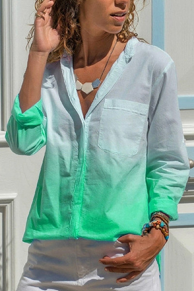 Beach Long Sleeve Square-Cut Collar Printed Color  Blouse