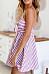 Spaghetti Strap  Striped  Sleeveless Skater Dresses
