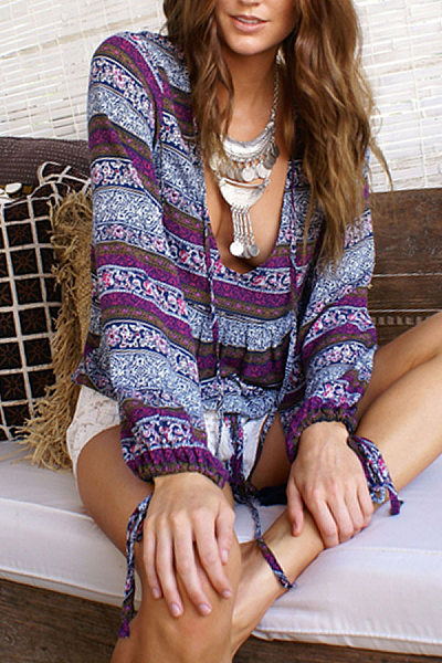 V Neck Tribal Printed Long Sleeve Blouses