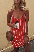 Spaghetti Strap  Backless  Striped  Sleeveless Casual Dresses