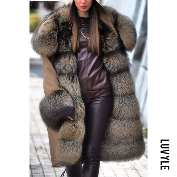 Noble temperament stitching faux furry sleeves Fluffy Coat