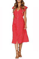 V Neck  Single Breasted  Dot  Short Sleeve Maxi Dresses