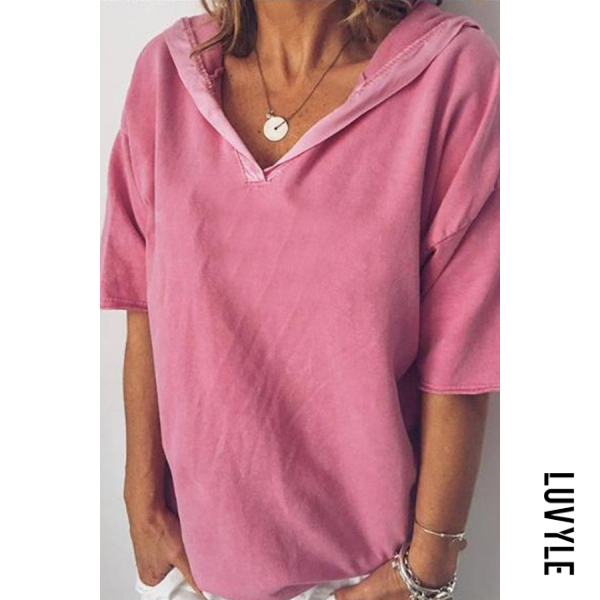 Pink Summer Short-Sleeved Women's Top V-Neck Loose Hooded T-Shirt Pink Summer Short-Sleeved Women's Top V-Neck Loose Hooded T-Shirt