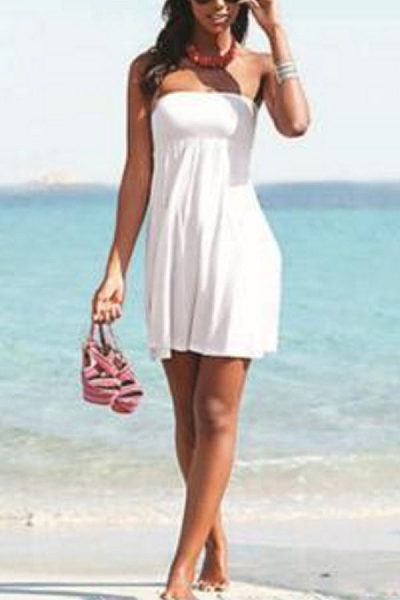 Strapless  Two Way  Plain  Sleeveless Casual Dresses