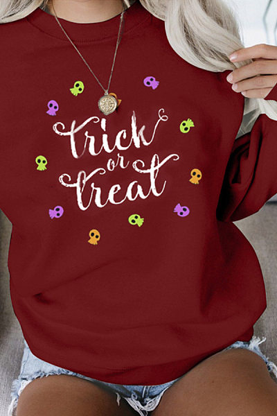 Casual Round Neck Letters Hoodies