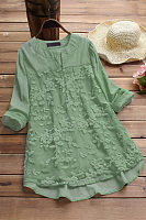 V Neck Lace Casual Blouse