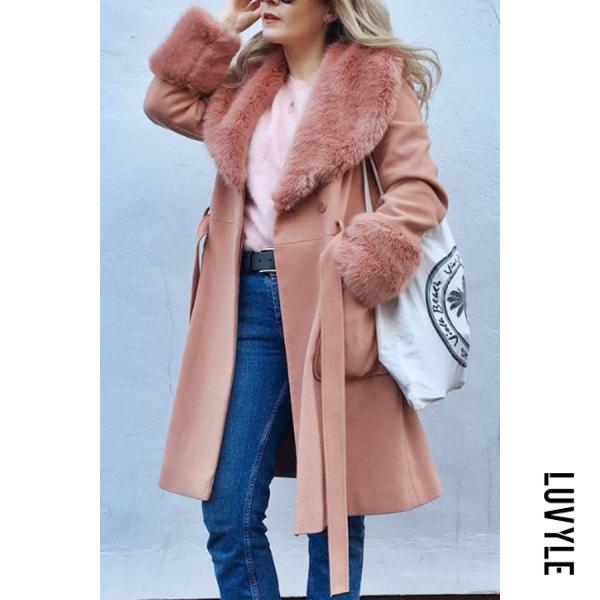 Women's fashion fold collar solid color coat