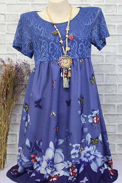 2019 New Summer Round Neck  Patchwork  Animal Prints Floral Printed Shift Dress