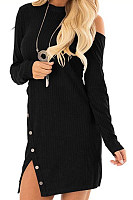 Round Neck  Single Button  Plain  Long Sleeve Bodycon Dresses