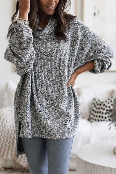 Heap Collar Loose-Fitting Casual Sweater