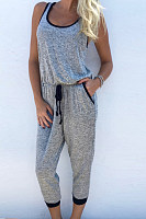 Spaghetti Strap  Backless  Belt Loops  Plain  Sleeveless Jumpsuits