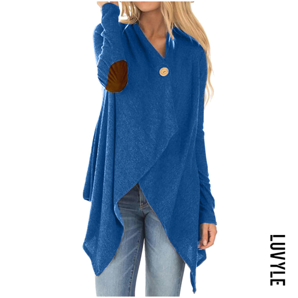 Casual solid color asymmetric design button women's cardigan - from $19.00