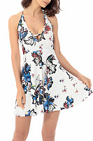 Halter  Backless Bowknot  Printed  Sleeveless Skater Dresses