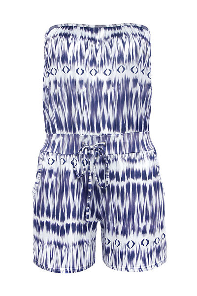 Strapless Drawstring Smocked Bodice Abstract Print Playsuits