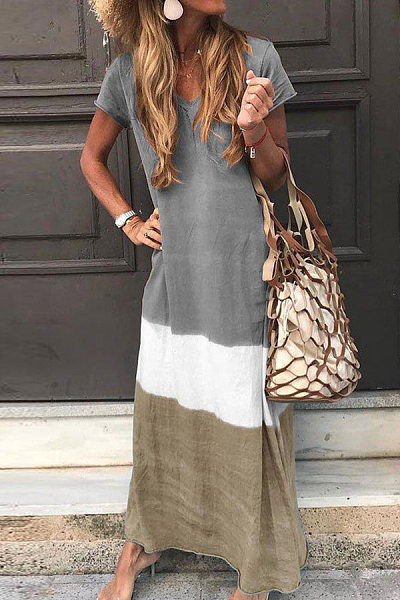 Ankle-Length Short Sleeve V-Neck Pullover Casual Maxi Dress