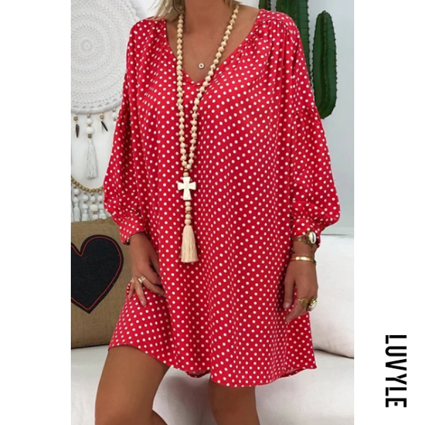 Red Casual V-Neck Lantern Long Sleeve Polka Dot Print Dress Red Casual V-Neck Lantern Long Sleeve Polka Dot Print Dress