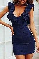 Round Neck  Flounce  Plain  Short Sleeve Bodycon Dresses