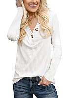 Casual V Neck Button T-Shirt