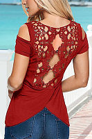 Open Shoulder Round Neck  Asymmetric Hem Backless  Plain T-Shirts