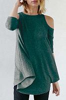 Open Shoulder  Asymmetric Hem Cutout  Plain T-Shirts