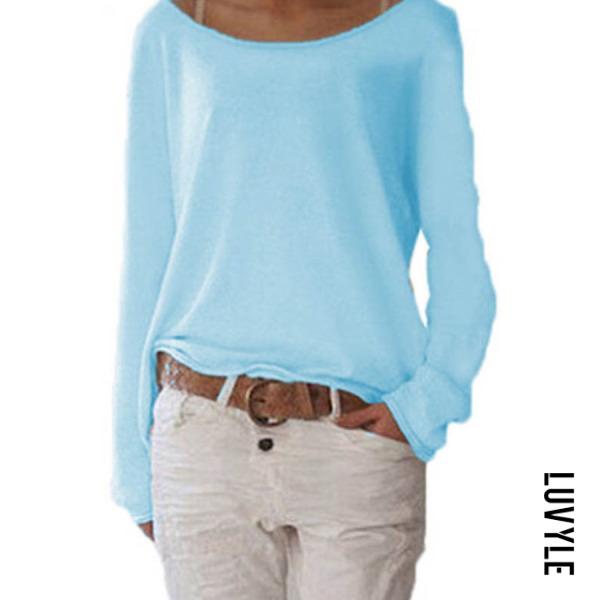 Light Blue Loose Round Neck Long Sleeve Plain T-Shirts Light Blue Loose Round Neck Long Sleeve Plain T-Shirts