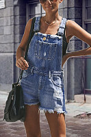 Spaghetti Strap  Backless  Overall  Plain  Sleeveless Denim Overalls