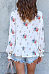 Round Neck  Ruffle Trim  Floral Printed  Blouses