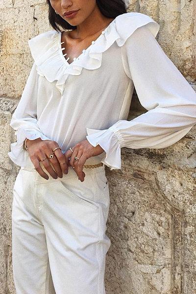 V Neck Falbala Long Sleeve White Blouse