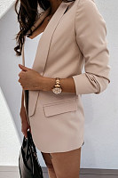 Natch Lapel Soild Color Casual Blazer